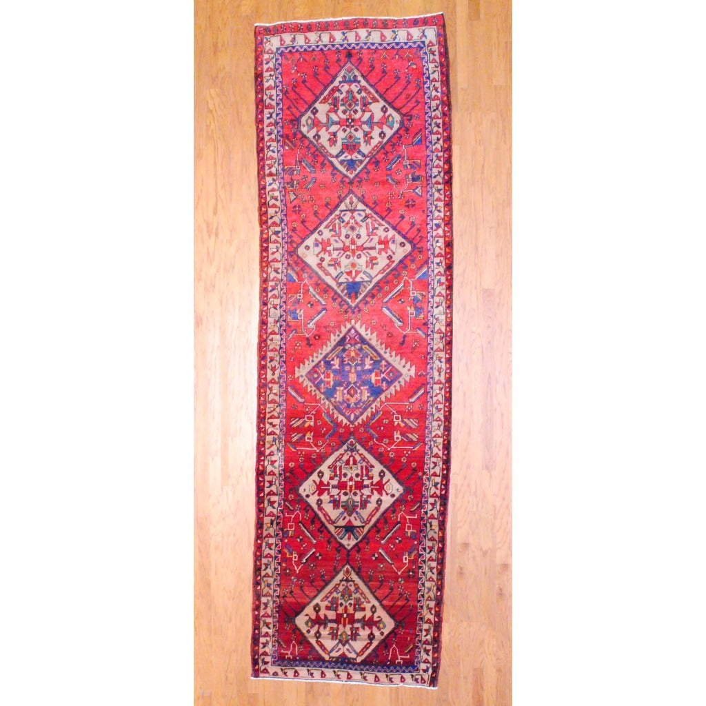 1960s Antique Persian Hand-knotted Tribal Hamadan Red/ Beige Wool Runner (4'1 x 13'11)