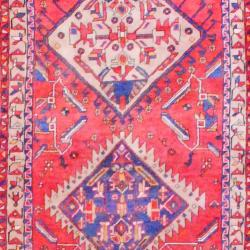 1960s Antique Persian Hand-knotted Tribal Hamadan Red/ Beige Wool Runner (4'1 x 13'11) - Thumbnail 1