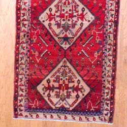 1960s Antique Persian Hand-knotted Tribal Hamadan Red/ Beige Wool Runner (4'1 x 13'11) - Thumbnail 2