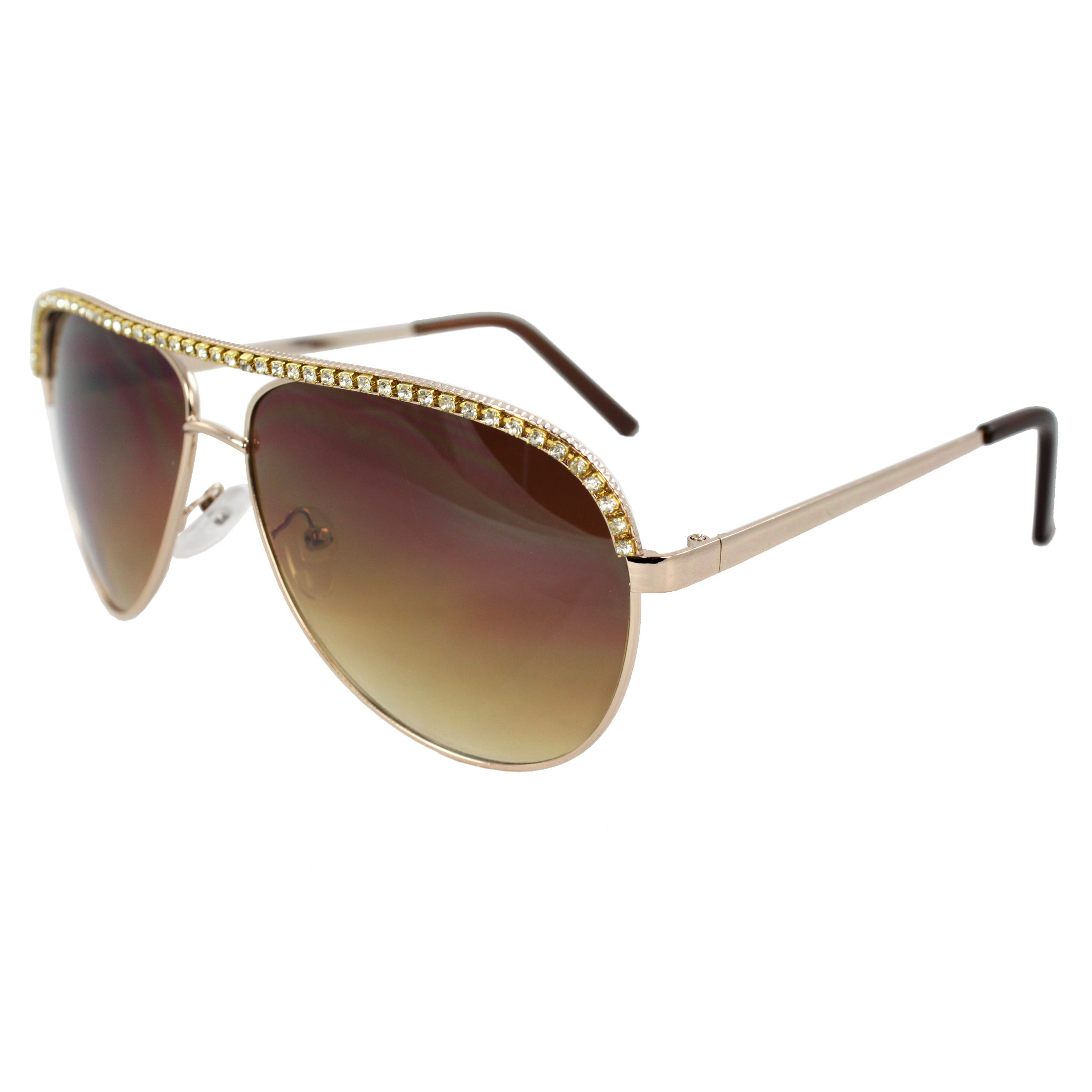 Women's Rhinestone Embellished Pilot Fashion Aviator Sunglasses