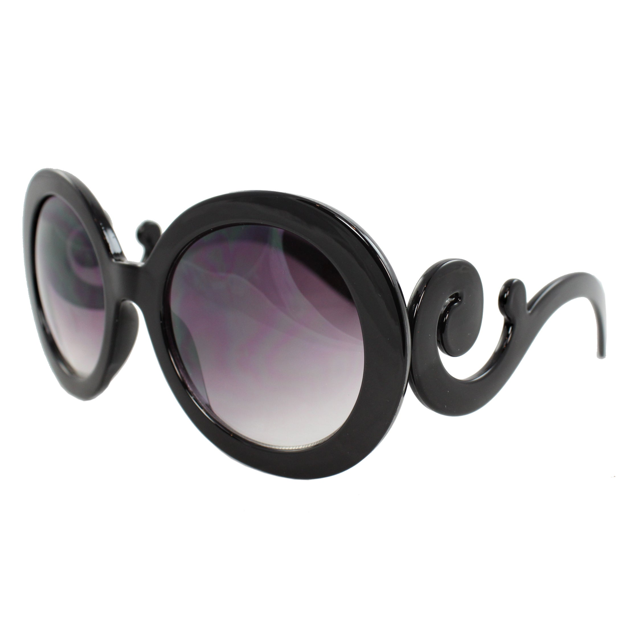 Womens' Black Oval Fashion Sunglasses - Thumbnail 0