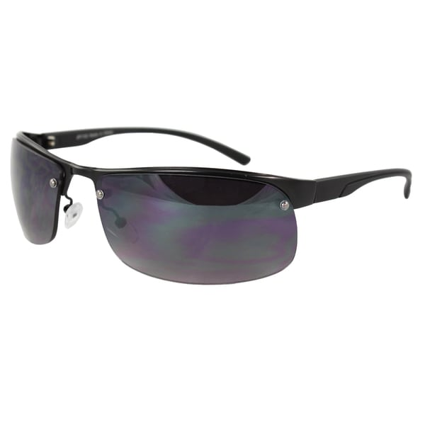 Men's Semi-Rimless Black Sport Sunglasses