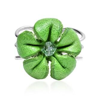 Handmade Pretty Jasmine Genuine Leather Floral Ring (Thailand)