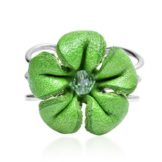 Handmade Pretty Jasmine Genuine Leather Floral Ring (Thailand)