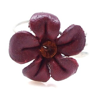 Handmade Pretty Jasmine Genuine Leather Floral Ring (Thailand) (More options available)