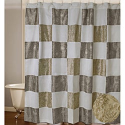Jovi Home Enchanted Embroidered Squares Shower Curtain - Thumbnail 0