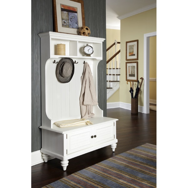 Home Styles Bermuda White Hardwood Hall Stand with Storage Bench