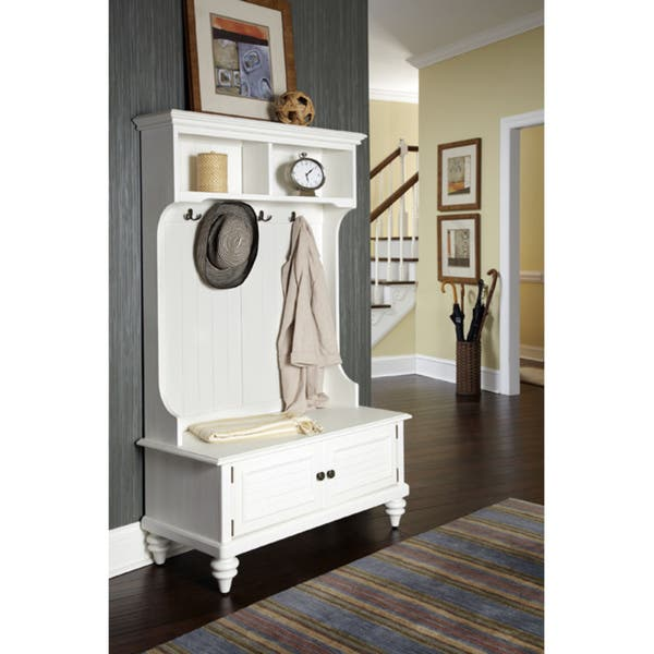 Phenomenal Home Styles Bermuda White Hardwood Hall Stand With Storage Bench Caraccident5 Cool Chair Designs And Ideas Caraccident5Info