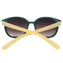 Women's Green/ Yellow Oval Fashion Sunglasses
