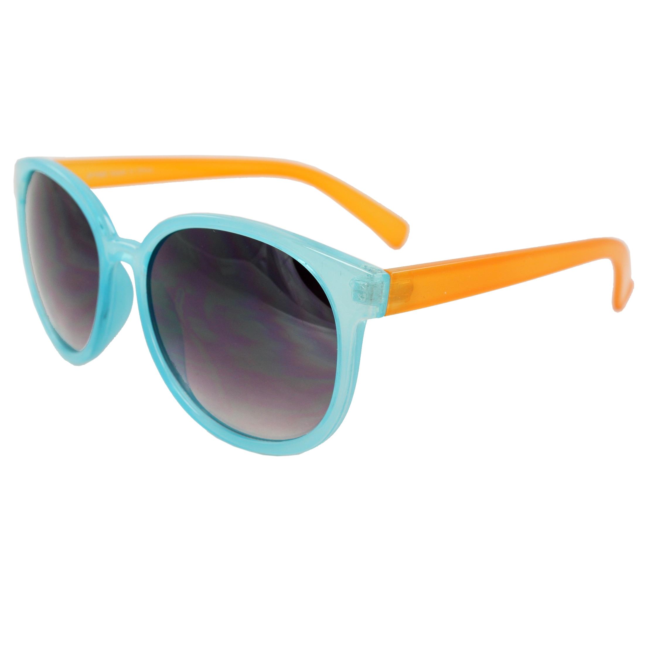 Women's Blue/ Orange Oval Fashion Sunglasses