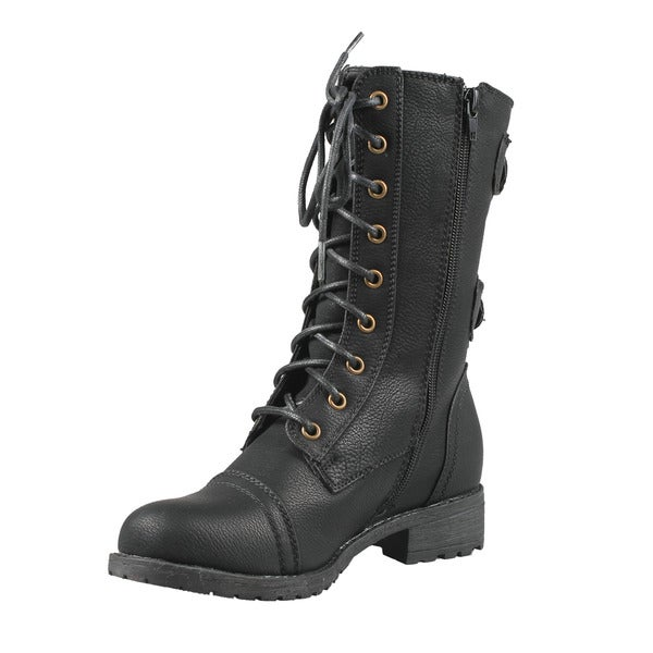 Wild Diva by Beston Women's 'TIMBERLY-02' Mid Calf Combat Boots