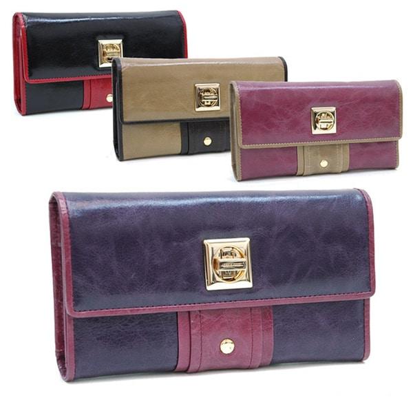 Anais Gvani Color-blocked Leather Clutch Wallet