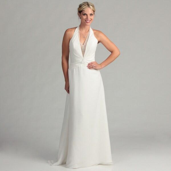 Shop Eden Bridals Women's Plunging V-neck Bridal Dress