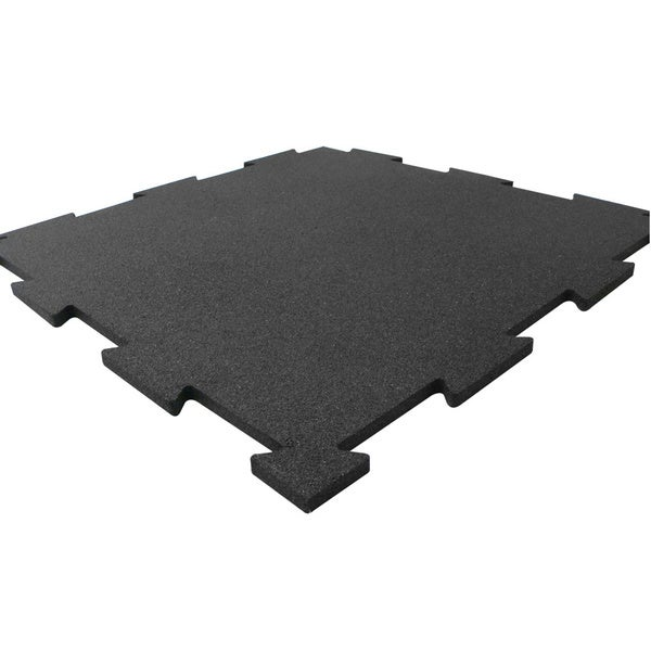 Rubber Cal Puzzle Lock Interlocking Rubber Flooring Black Tiles