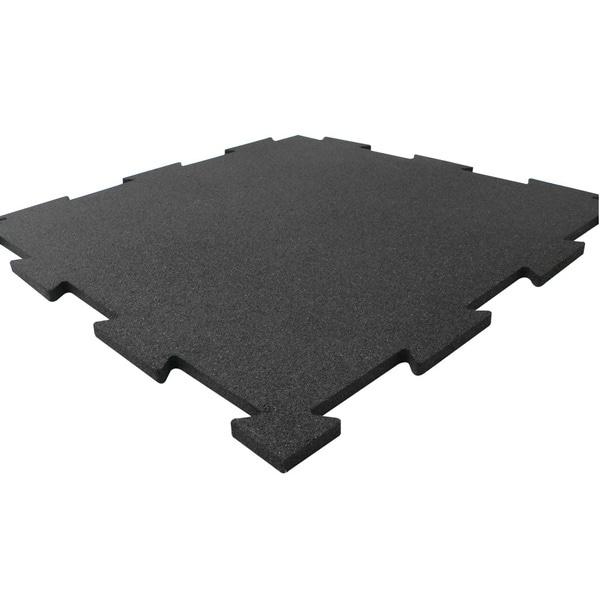 Rubber-Cal Puzzle-Lock Interlocking Rubber Flooring Black Tiles