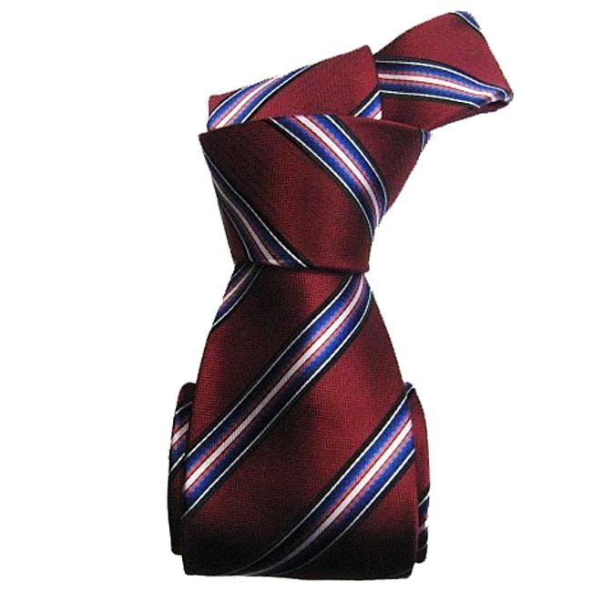 Dmitry Men's Italian Burgundy Striped Silk Tie