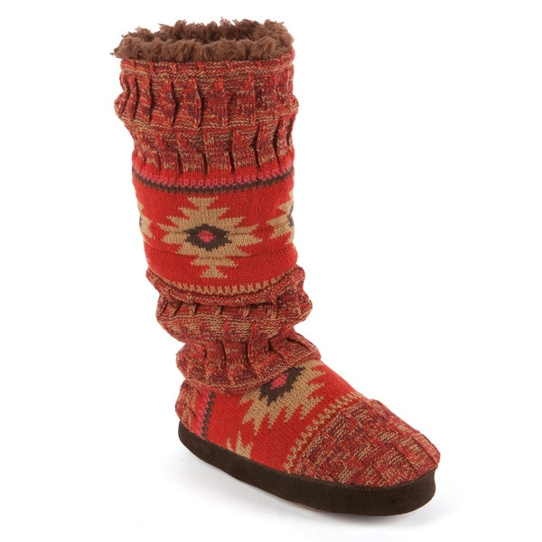 Mukluks Tina Painted Acrylic Texture Toggle Slipper Boots in Firewheel