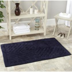 Safavieh Spa 2400 Gram Diamonds Navy Gram 27 x 45 Bath Rug (Set of 2) - 2'3 x 3'9