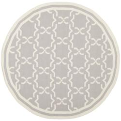 Safavieh Transitional Handwoven Moroccan Reversible Dhurrie Grey/ Ivory Wool Rug (6' Round)