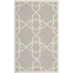 Safavieh Transitional Moroccan Reversible Dhurrie Grey/Ivory Wool Rug (3' x 5')