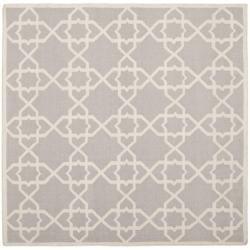 Safavieh Hand-woven Moroccan Reversible Dhurrie Grey/ Ivory Wool Rug (8' Square)