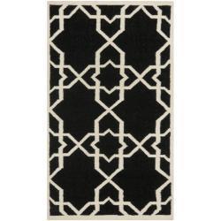 Safavieh Hand-woven Moroccan Reversible Dhurrie Black/ Ivory Wool Rug (3' x 5')
