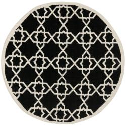 Safavieh Hand-woven Moroccan Reversible Dhurrie Black/ Ivory Wool Rug (6' Round)