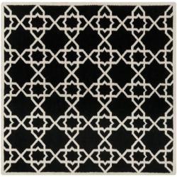 Safavieh Handwoven Moroccan Reversible Dhurrie Black/ Ivory Wool Area Rug (6' Square)