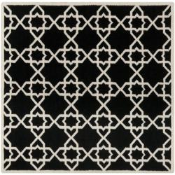 Safavieh Hand-woven Moroccan Reversible Dhurrie Black/ Ivory Wool Rug (8' Square)