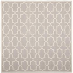 Safavieh Moroccan Reversible Dhurrie Grey/Ivory Wool Geometric Rug (8' Square)