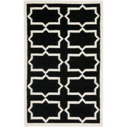 Safavieh Moroccan Reversible Dhurrie Transitional Black/Ivory Wool Rug (3' x 5')