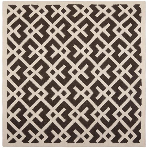 Safavieh Moroccan Reversible Dhurrie Brown Ivory Modern Motif Wool Rug 8 X27