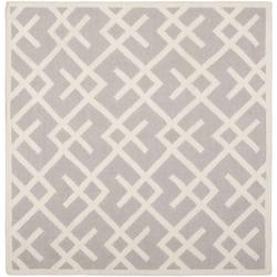 Safavieh Transitional Moroccan Reversible Dhurrie Grey/Ivory Wool Rug (6' Square)