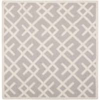 Safavieh Transitional Moroccan Reversible Dhurrie Grey/Ivory Wool Rug - 6' x 6' Square