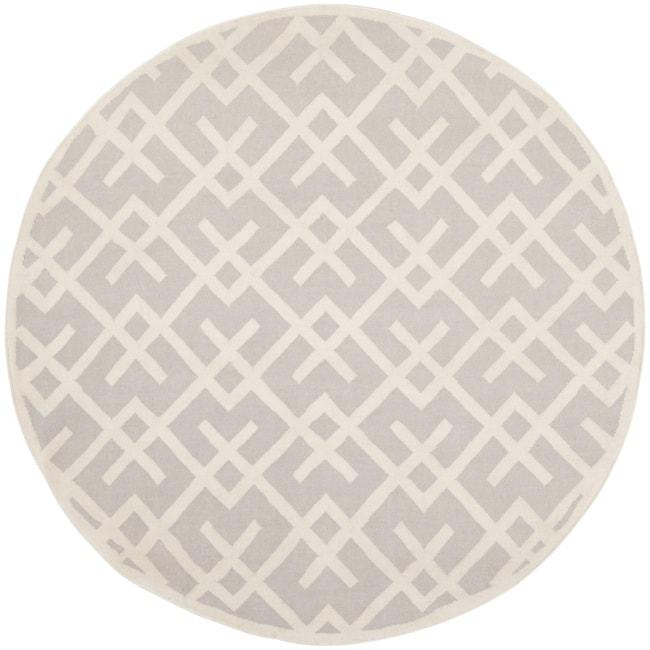 Safavieh Moroccan Reversible Dhurrie Grey/Ivory Geometric Wool Rug (8' Round)