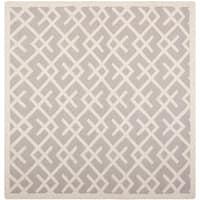 Safavieh Handwoven Moroccan Reversible Dhurrie Grey/Ivory Wool Rug - 8' x 8' Square