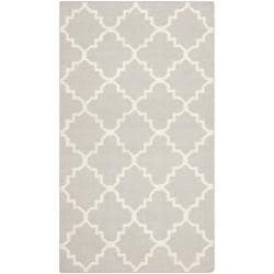 Safavieh Hand-woven Moroccan Reversible Dhurrie Grey/ Ivory Wool Rug (3' x 5')