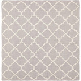 Safavieh Moroccan Reversible Dhurrie Grey/Ivory Pure Wool Rug (8' Square)