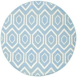 Safavieh Hand-woven Moroccan Reversible Dhurrie Blue/ Ivory Wool Rug (6' Round)