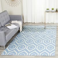 Safavieh Hand-woven Moroccan Reversible Dhurrie Blue/ Ivory Wool Rug (8' Square) - 8' Square