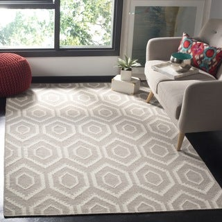 Safavieh Geometric Moroccan Reversible Dhurrie Grey/Ivory Wool Rug (6' Square)