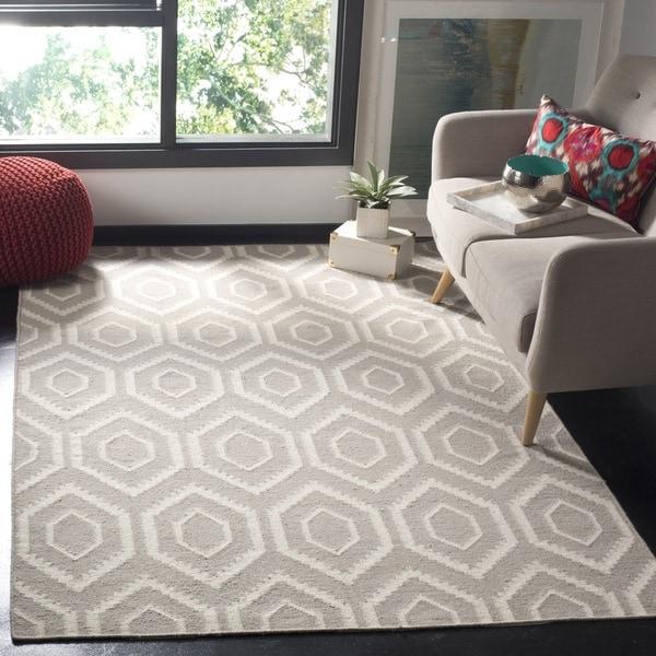Safavieh Geometric Moroccan Reversible Dhurrie Grey Ivory Wool Rug 6 X27 X