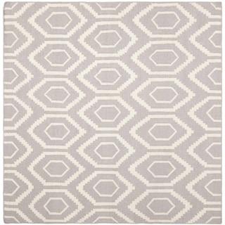 Safavieh Moroccan Reversible Dhurrie Grey/Ivory Wool Indoor Rug (8' Square)