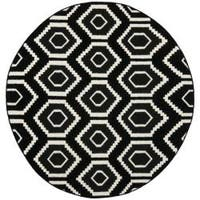 Safavieh Transitional Safavieh Handwoven Moroccan Reversible Dhurrie Black/ Ivory Wool Rug (6' Round