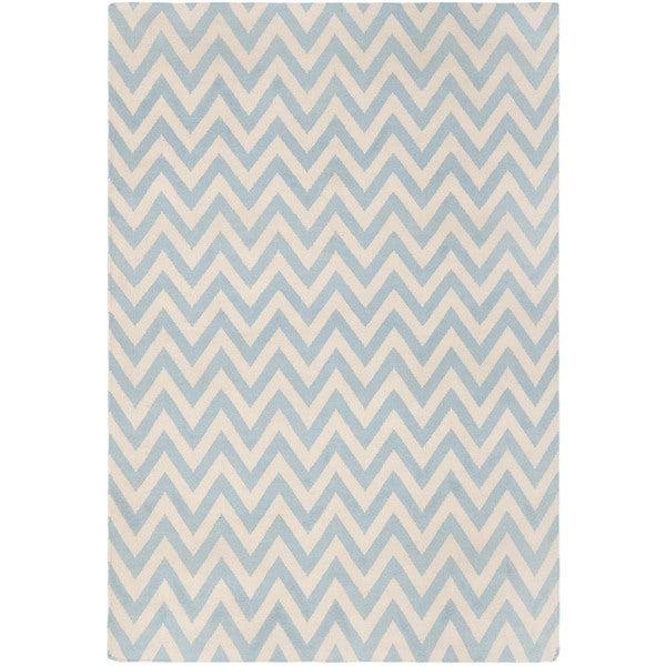 Safavieh Hand-woven Moroccan Reversible Dhurrie Chevron Blue/ Ivory Wool Rug (4' x 6')