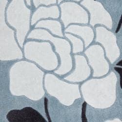 Safavieh Handmade Modern Art Harmony Floral Blue/ Ivory Polyester Rug (2'6 x 4')