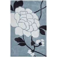 Safavieh Handmade Modern Art Harmony Floral Blue/ Ivory Polyester Rug - 2'6 x 4'