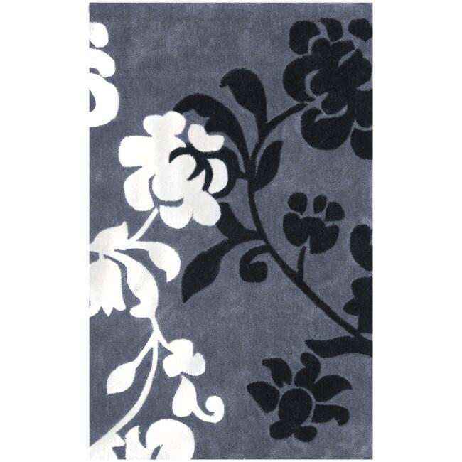 Safavieh Handmade Modern Art Floral Shadows Dark Grey/ Multi Polyester Rug (2'6 x 4')