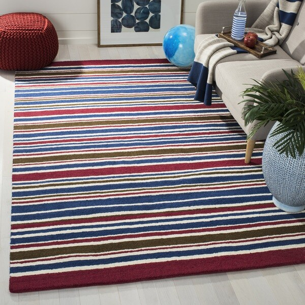 Safavieh Handmade Children's Stripes New Zealand Wool Rug - multi - 3' x 5'