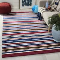 Safavieh Handmade Children's Stripes New Zealand Wool Rug - 7' x 7' Square